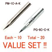 "G Model Chrome Pen Nib (PG-6B-C-K) & Mapping Pen (Maru Pen)Nib (PM-1C-A-K) ""Each 10 - Total 50cm Value Set"
