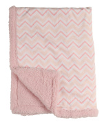Cudlie! Double Sided Mink Infant Blanket and Sherpa Backing, Pink Chevron