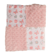 Cudlie! Double Sided Infant Blanket Mink Patchwork Blanket, Rosette and Butterfly