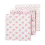 giggle Three Pack Muslin Swaddle Blankets, Pink/Dark Pink