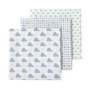 giggle Three Pack Muslin Swaddle Blankets, Blue/Dark Blue