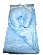 Sleep Tight Baby Blanket with Travel Pillow, Blue