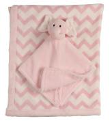 Little Beginnings Double Sided Flannel Fleece Infant Blanket with Elephant Lovie, Pink