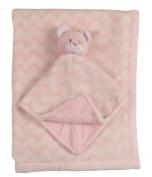 Little Beginnings Double Sided Flannel Fleece Infant Blanket with Teddy Bear Lovie, Pink
