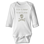 Baby Onesie To Err Is Human To Arr Is Pirate Cotton Funny Bodysuits