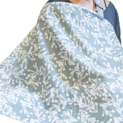 Grey Floral Nursing Cover with Built In Burp Cloth for Breastfeeding Infants | FREE Matching Pouch | Peekaboo OpeningTM for Baby Eye Contact | Cover Ups Newborn and Mother for Privacy