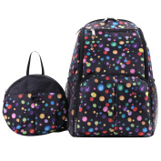 Multifunction Baby Nappy Backpack,BBDI Waterproof Baby Bag with Anti-lost Backpack - Black Polka Dot