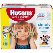 HUGGIES Simply Clean Baby Wipes Refills, 648 sheets