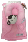 Cosy Baby Baby Blanket With Travel Pillow Pink Monkey Face