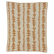 Organic Cotton Knitted Blanket with Arrows in Brown