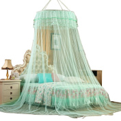 RINE COOOO Princess Round Lace Mosquito Net Bed Canopy For Home or Travel Use -Green