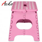 Acko Pink 28cm Non Slip Folding Step Stool for Kids and Adults with Handle, Holds up to 140kg