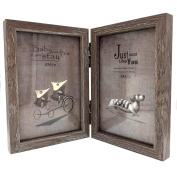CECII Wood Picture Frame, Hinged Double Picture Frame, Double 10cm by 15cm