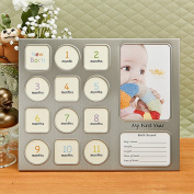 """""""MY FIRST YEAR"""" BABY COLLAGE FRAME IN PEWTER"""