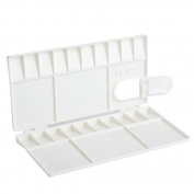 Zadaro 25 Grids Large Plastic Watercolour Folding Palette Box Cover Lid Opens Flat Paint Tray Thumb hole For plein air Painting Art White