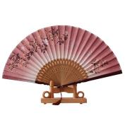 FENICAL Women Folding Bamboo Hand Fan Butterfly and Flower Style Folding Fan with Tassel