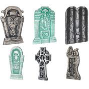 Loftus Graveyard Halloween Decor 6pc 50cm & 36cm Tall Tombstones, Grey Green
