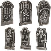 Loftus Graveyard Halloween Decor 6pc 48cm & 30cm Tall Tombstones, Black Grey