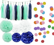 Kubert® 20 pcs White,Mint Green, Royal blue ,Tissue Paper Pom Pom Tissue Pom Pom Paper Tassel Garland Polka Dot Circle Garland for Baby Shower Decoration Wedding Bridal Shower Pink Gold Birthday