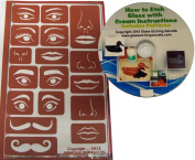 Reusable Stencil Eyes & Face Elements, includes nose, lips and moustaches + Free How to Etch CD