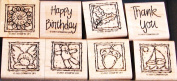 Stampin' Up! Anytime Greetings - Wood Mounted Rubber Stamps Set of 8