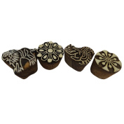 Handcrafted Wooden Blocks Animal Floral Decorative Textile Fabric Brown Block Set of 4 Pcs Art Décor Stamp Gift