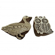 Decorative Wooden Stamp Animal Bird Shape Blocks Fabric Printing Kids Magazine Stamps Block Set of 2 Pcs Wall Stamp