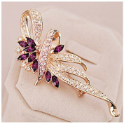 Crystal Brooch Lovely Flower Female Scarf Buckle Pin Brooch Large Shawl Sweater Buckle Dual