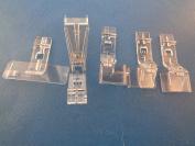 NGOSEW Clear Bias Tape Folder, Cording Piping, Hemmer, Flat Edge Lace Foot Set for Husqvarna Viking HUSKYLOCK 905,910,936 #4126714-01,412716445