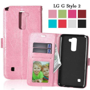 LG G Stylo 2 Case, LG Stylus 2 Case, GreenElec [Kickstand Function] Built-in Card Slots Luxury Wallet PU Leather Wallet Case Flip Cover for LG G Stylo 2 / Stylus 2