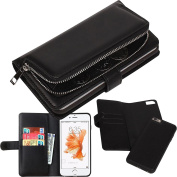 iPhone 6s Plus Case(14cm ), Zipper Coins Wallet Leather Detachable Magnetic Case Purse Clutch Credit Card Holder Cover, LefRight Black