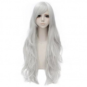 80cm Long Wavy Fashion Silver White Heat Resistant Cosplay Basic Wig+Cap