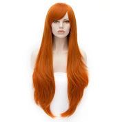 80cm Long Wavy Fashion Orange Heat Resistant Cosplay Basic Wig+Cap