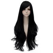 80cm Long Wavy Fashion Black Heat Resistant Cosplay Basic Wig+Cap