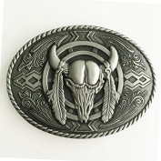 New Oval Silver Bull Head Cowboy Men's Belt Buckle Biker Motorcycle Native American Fashion Zinc Alloy Rings Suitable for 4cm Width Belt