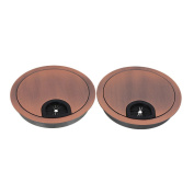 Wire Hole Cover,Ideaker 80mm Red Copper Colour Zinc Alloy PC Computer Grommets Table Desk Cable Tidy Plate Pack of 2