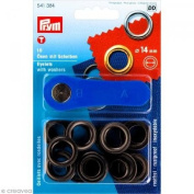 PRYM-Consumer Prym 541384 Eyelets With Washers Size 14mm Inside; Black Oxidised, 10 Pieces