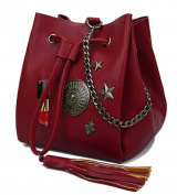 YouNuo New Fashion Tassel Drawstring Bucket Bag PU Leather Tote Handbag Shoulder Bag for Women