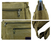 YouNuo Unisex Lightweight Canvas Cross-Body Shoulder Bag Casual Messenger Bag with Zipper Pockets