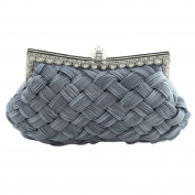 Academyus Elegant Braided Pleated Glitter Rhinestone Evening Party Clutch Bag