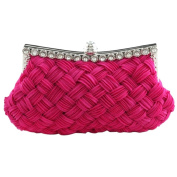TRENTON Women's Pleated Braided Rhinestone Party Satin Clutch Purse Handbag