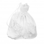 Tinksky White Bridal Bridesmaid Flower Decorated Dolly Bag Handbag