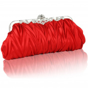 Gilroy Womens Vintage Satin Pleated Envelope Evening Cocktail Bag
