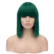 SHERUI Charming Wigs Short Hair Wig Straight Flat Bang Shoulder length Bob Hair Full Hair Wigs Colourful Cosplay Wigs