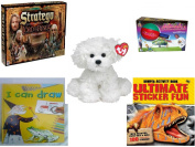 Children's Gift Bundle - Ages 6-12 [5 Piece] - The Lord of The Rings Stratego Game - Flingzit Toy - Ty Lollipup Bichon Frise 13cm - I Can Draw Hardcover Book - Ultimate Sticker Fun Paperback Book