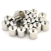 20 Pcs Decorative DIY Crafts Cylindrical Silver Plolished Metal Bells