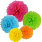SOOKOO 15 Pcs 36cm , 30cm , 25cm Assorted Rainbow Colours Tissue Paper Pom Poms Flower Balls For Birthday Wedding Party Baby Shower Decorations
