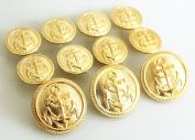 YCEE Premium New 11 Pieces Gold Metal Blazer Button Set - Naval Anchor CREST - For Blazer, Suits, Sport Coat, Uniform, Jacket