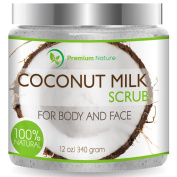 Coconut Milk Body Scrub 350ml For Face & Body, 100% Natural By Premium Nature