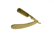 Straight Razor Stainless Steel 24k Gold Plated Changeable Blades No Hole Design